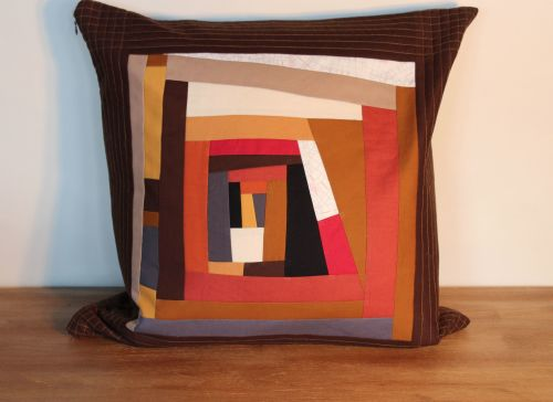 Abstract Improvised Log Cabin Cushion(1)