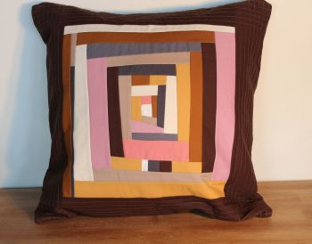 Abstract Improvised Log Cabin Cushion(2)