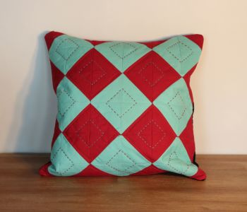 Red and Green Hand Quilted Cushion