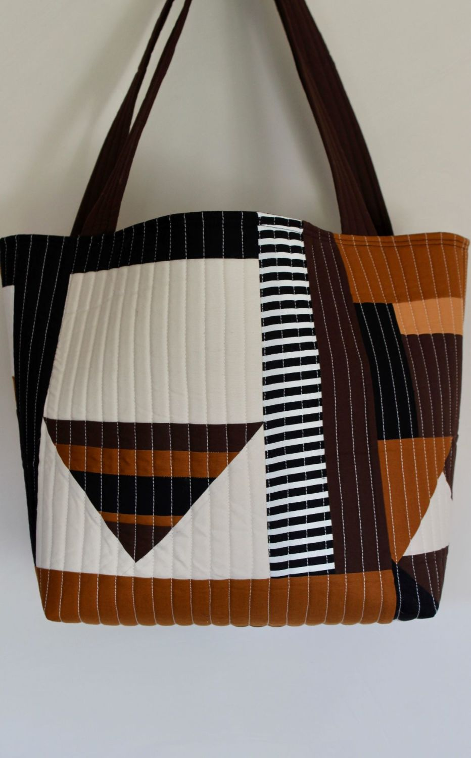Pecan and Brown  Quilted Tote Bag(1)