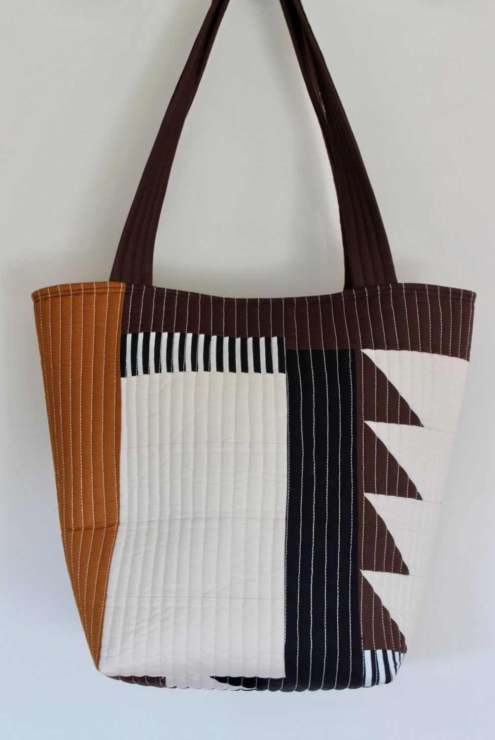 Pecan and Brown  Quilted Tote Bag(2)