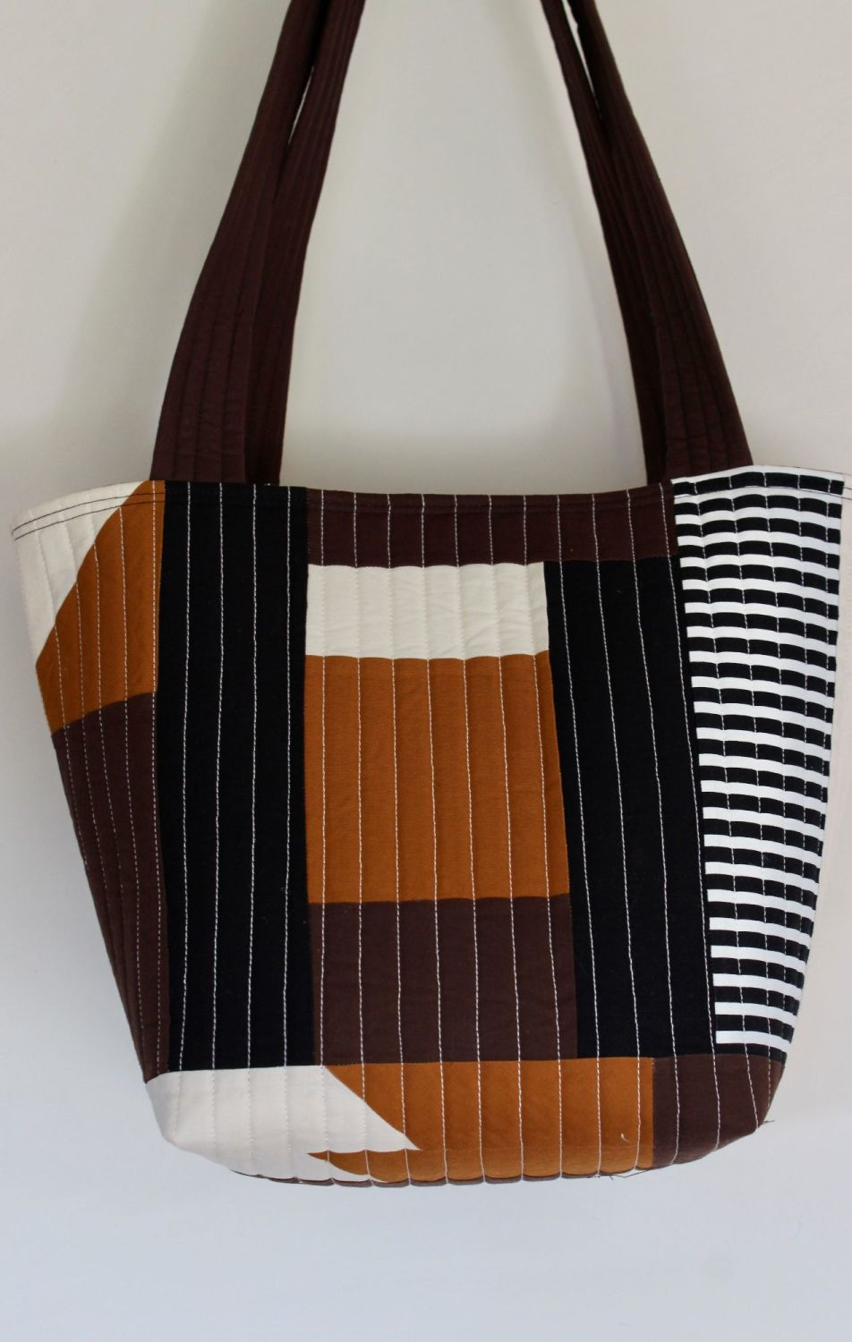 Pecan and Brown  Quilted Tote Bag(3)