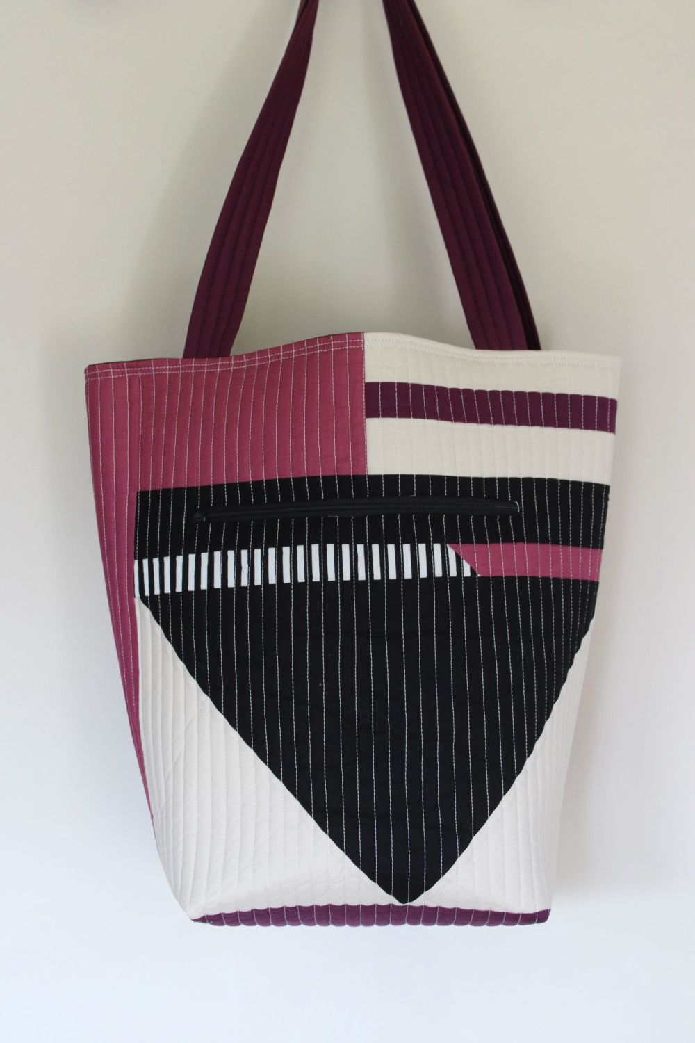 Purple and Black Patchwork Quilted Tote Bag(1)