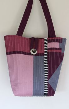 Purple and Grey Patchwork Quilted Tote Bag
