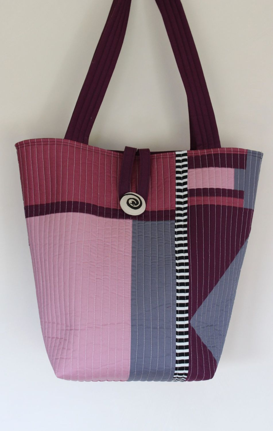 Purple and Black Patchwork Quilted Tote Bag(2)