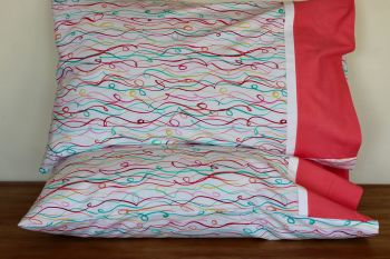 Pair of Party Streamers Pillow Cases