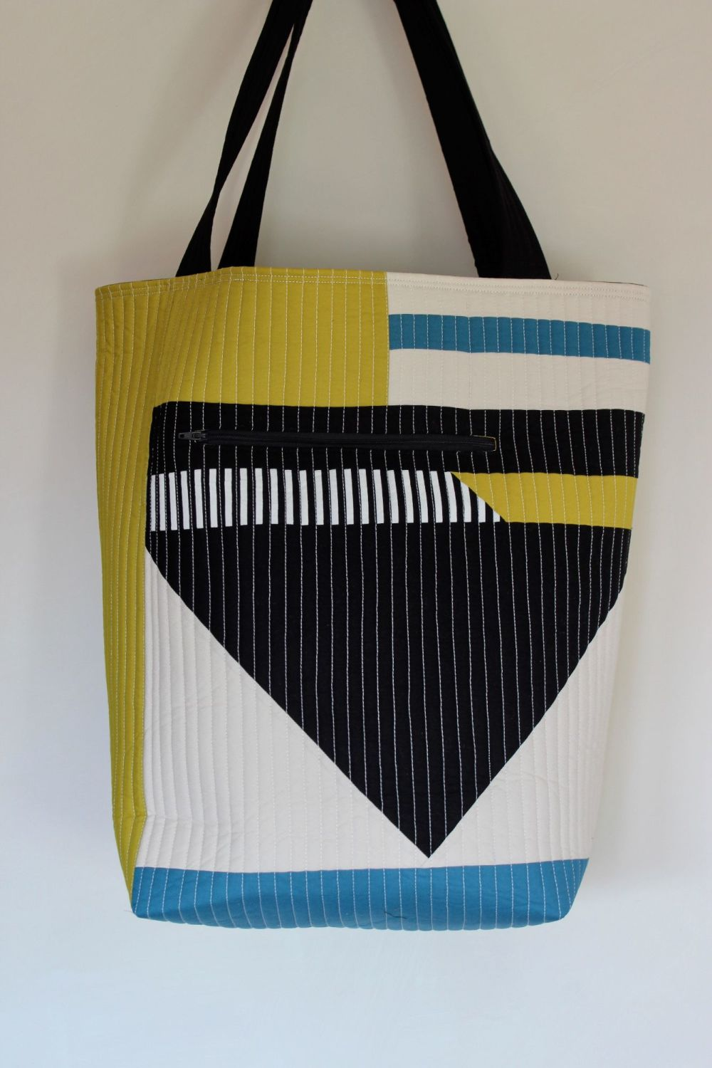 Teal Blue and Pickle Patchwork Quilted Tote Bag