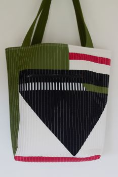 Avocado and Berry Patchwork Quilted Tote Bag