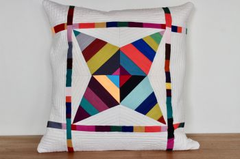 String Star Quilted Cushion (Bright)