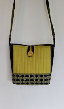Pickle and Black Quilted Cross-Over Bag