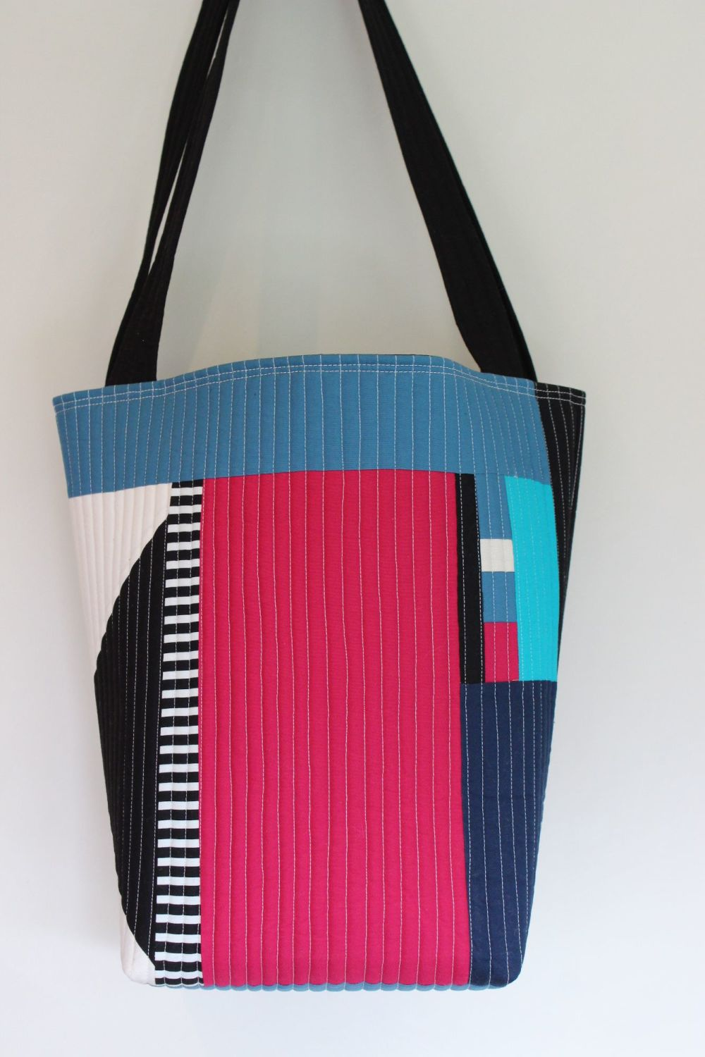 Sangria and Teal Quilted Tote Bag