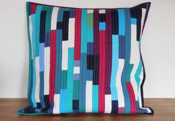 Striped Envelope Cushion in Blues (1)