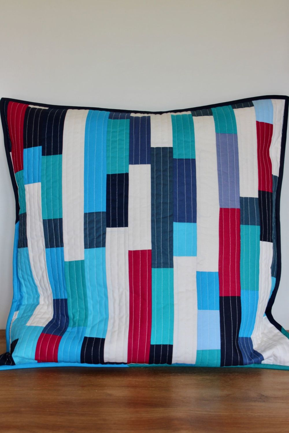 Striped Envelope Cushion in Blues (2)
