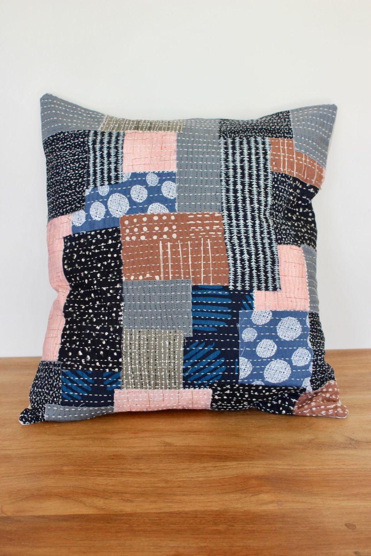 Boro Inspired Sashiko Envelope Cushion (1)