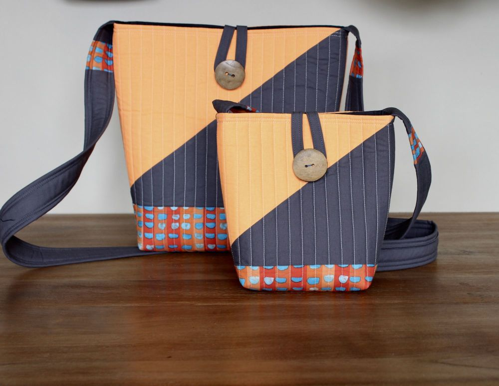 Matching Brush Marks Cross-Over Quilted Bags