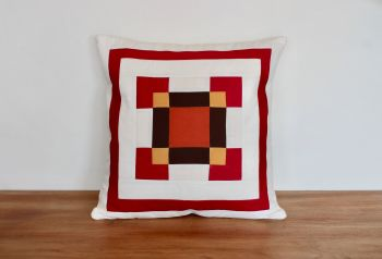 Nine Patch Nonsense Envelope Quilted Cushion (Tan)