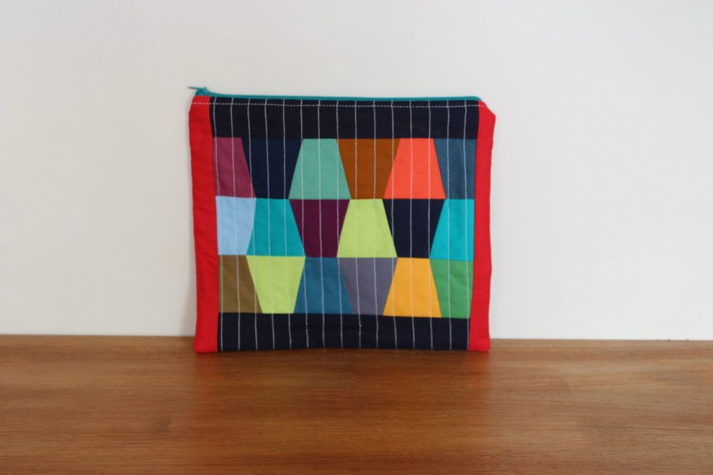 A Dorset Patchworks Bits and Bobs Quilted Pouch (Tumbler Blocks)