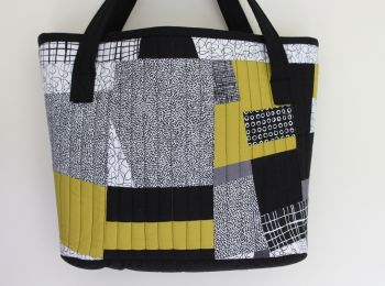Pen and Ink and Pickle Quilted Shopping Tote Bag(1)