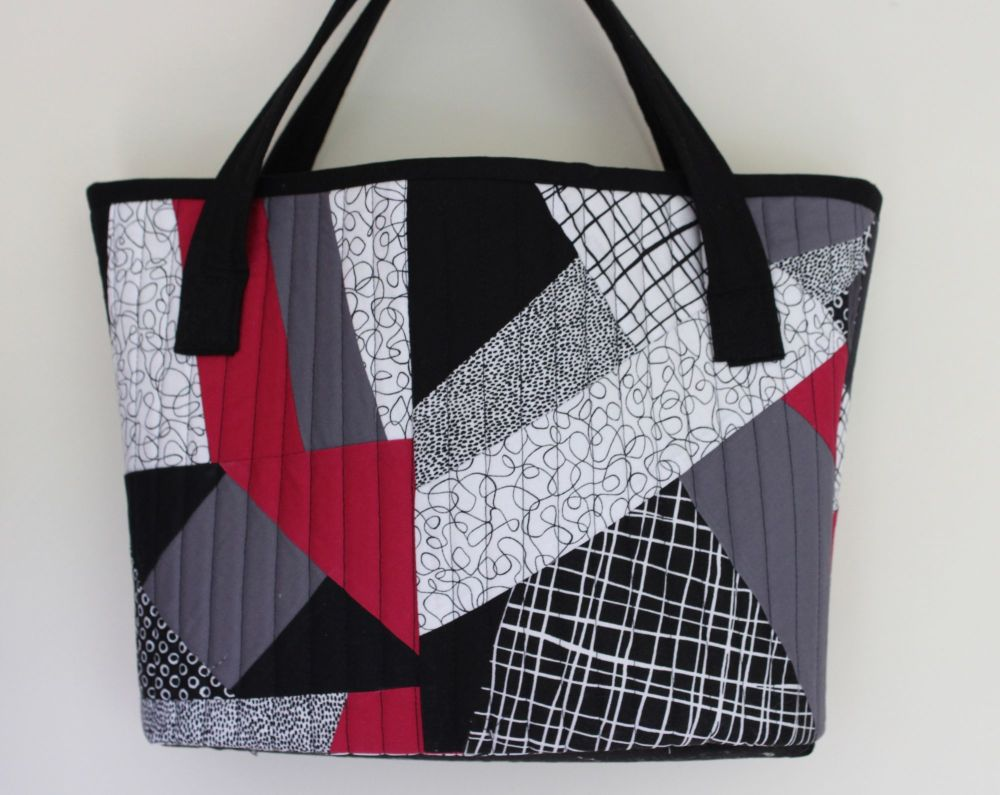 Pen and Ink and Sangria Quilted Shopping Tote Bag