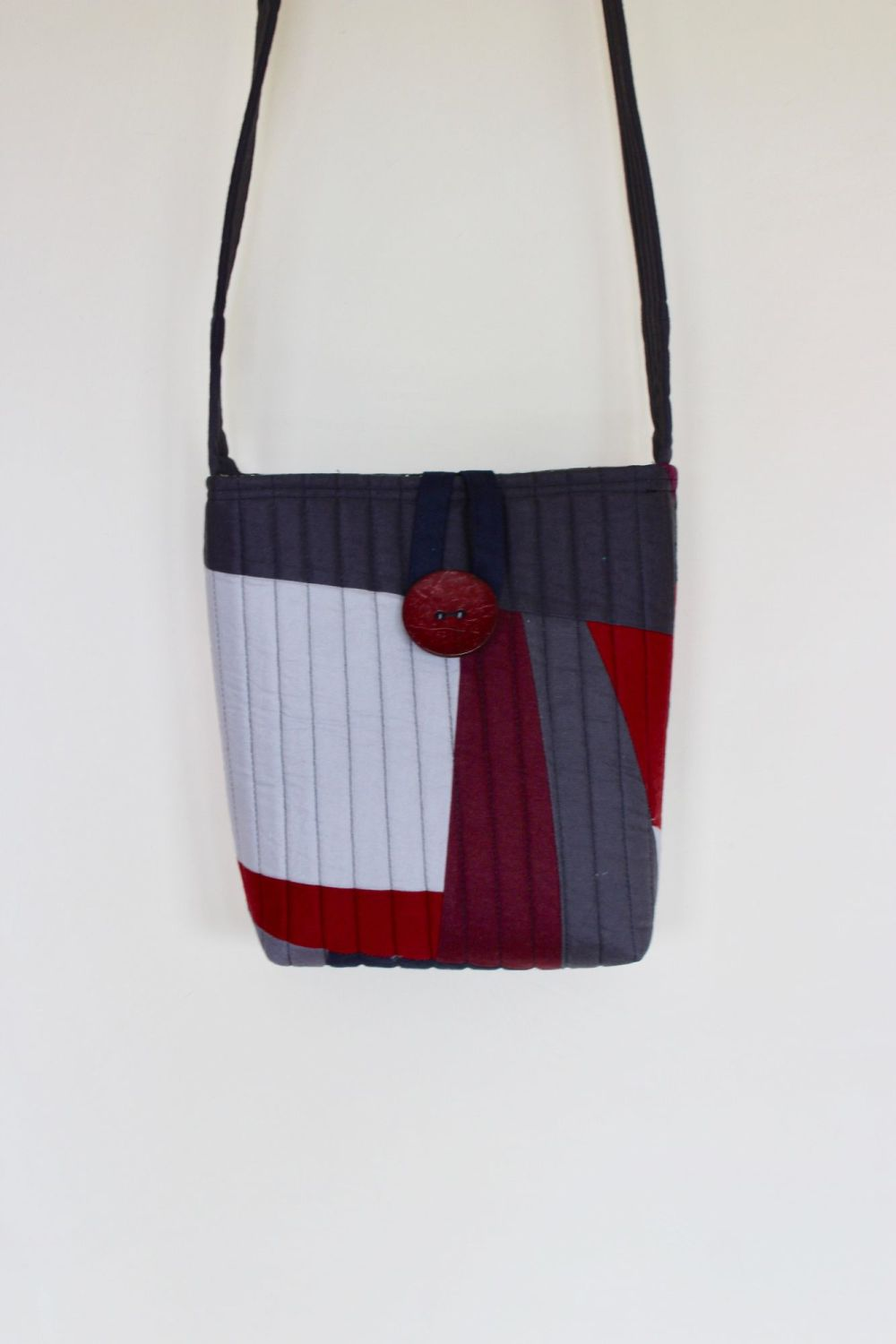 Red and Grey Quilted Cross-Over Bag