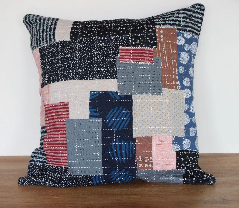 Boro Inspired Sashiko Envelope Cushion (3)