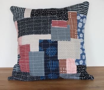 Boro/Sashiko Inspired Envelope Cushion (3)