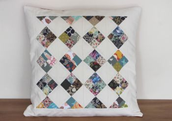 Scrappy Four Patch Quilted Cushion