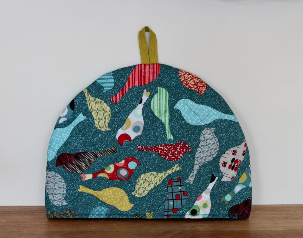Birds In Teal Quilted Tea Cosy