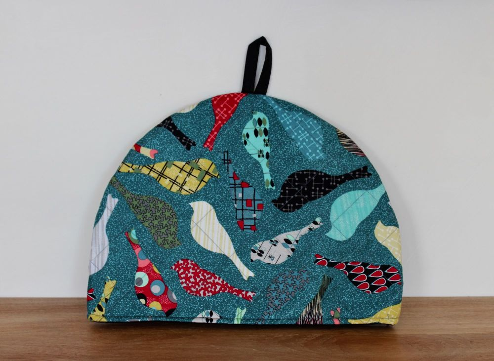 Birds In Teal Quilted Tea Cosy(2)