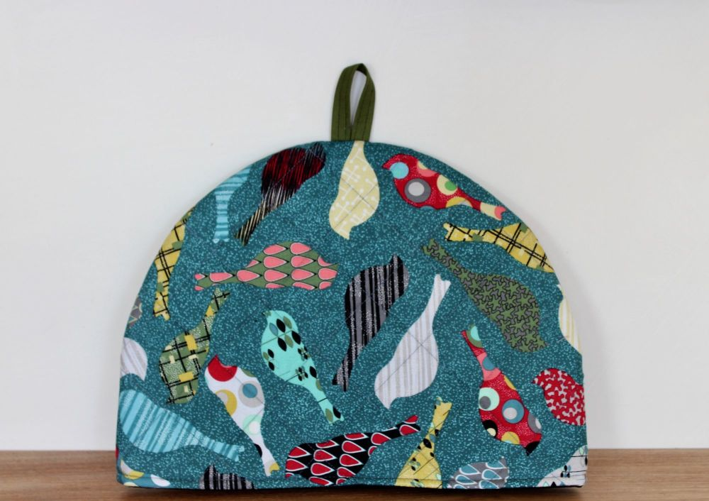 Birds In Teal Quilted Tea Cosy(3)