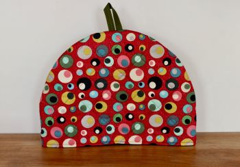 Mid Mod Circles in Red Quilted Tea Cosy(3)