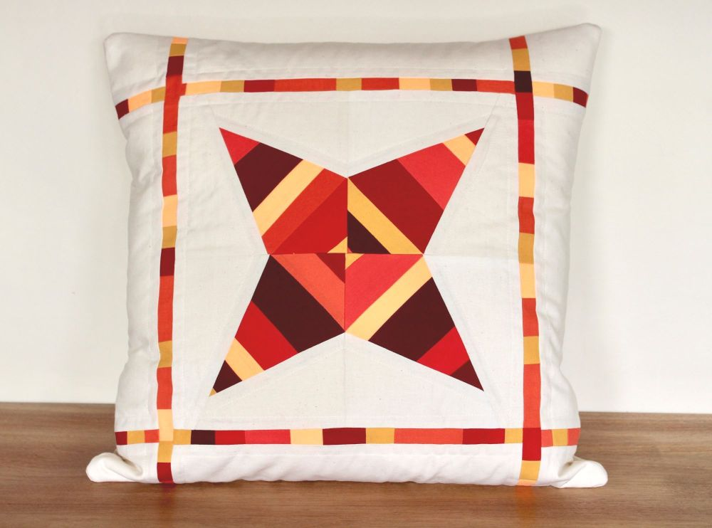String Star Quilted Cushion (Orange)