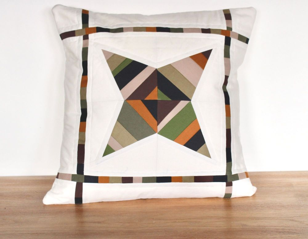 String Star Quilted Cushion (Browns/Greens)