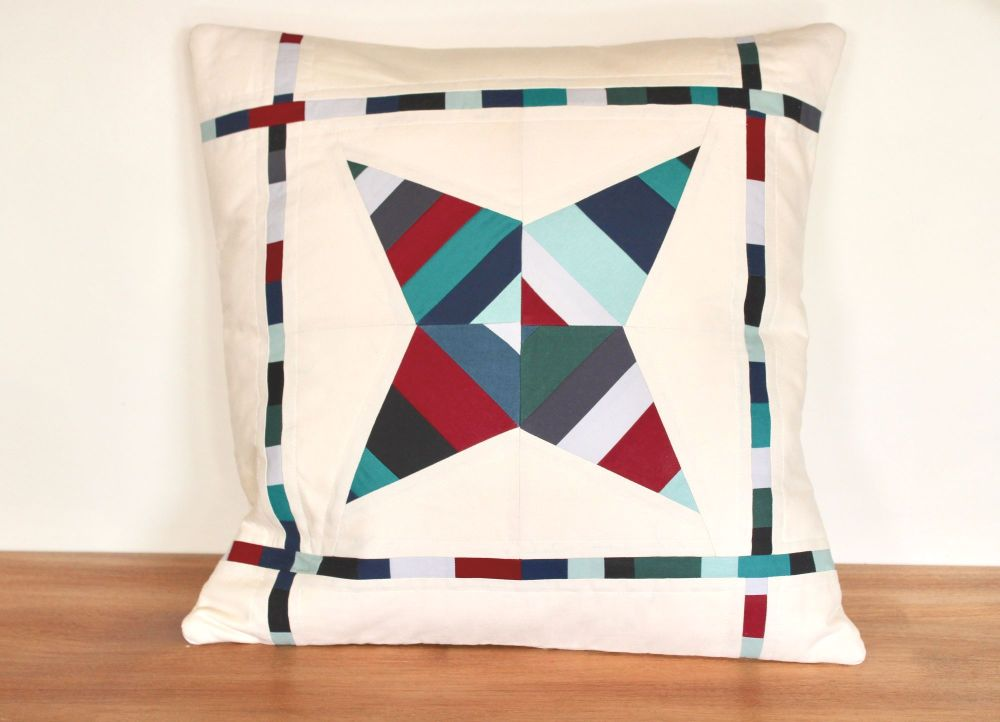 String Star Quilted Cushion Maroon/Bues and Greens)