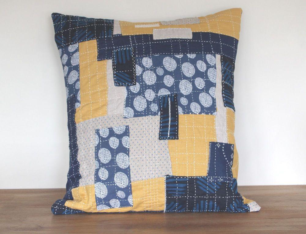 Boro/Sashiko Inspired Envelope Cushion (6)