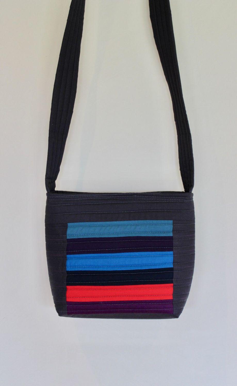 Dark Stripes Cross-Over Bag
