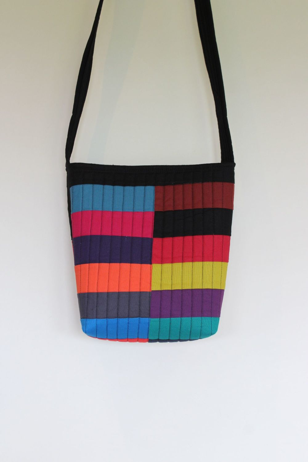 Colour Block Quilted Cross-Over Bag
