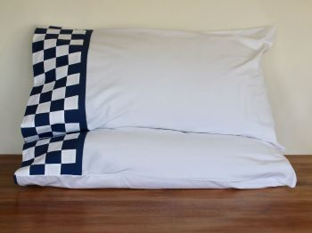 Pair of Pillow Cases with Blue and White Patchwork Cuff