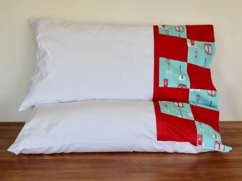 Pair of Street Life Pillow Cases with Patchwork Cuff(2)