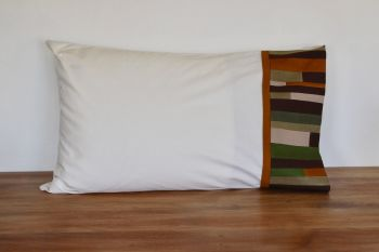Single Pillow Case with Patchwork Cuff (Browns and Greens)