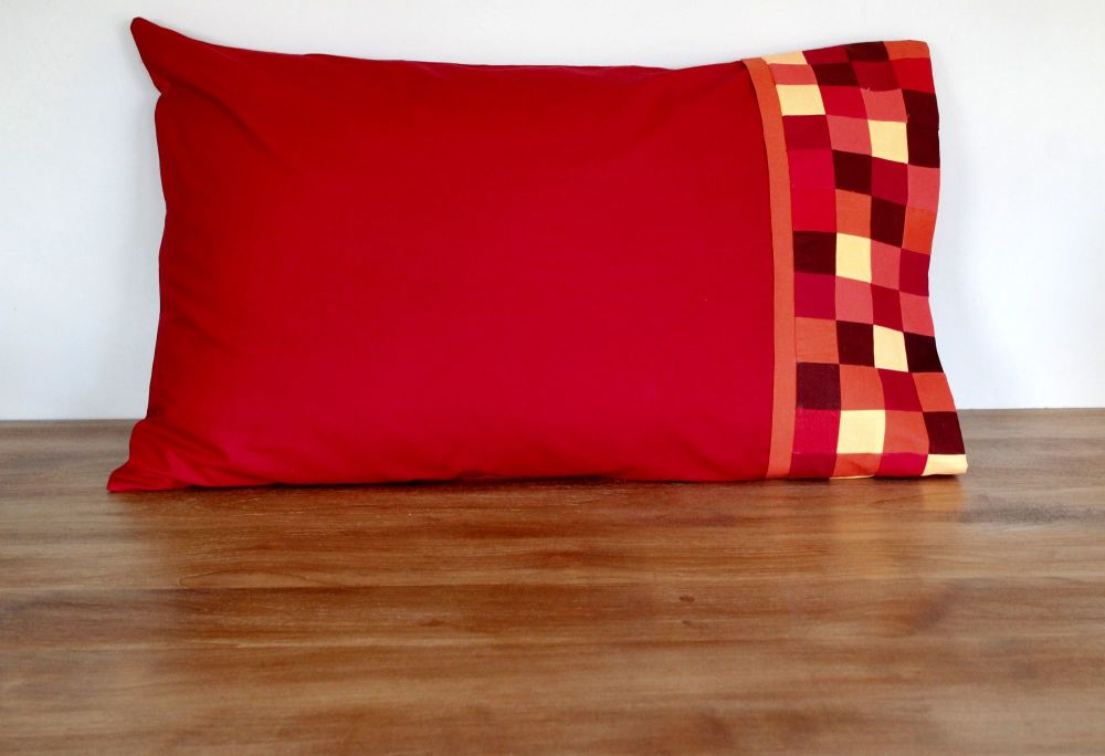 Single Pillow Case with Patchwork Cuff (Reds and Oranges)