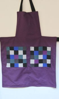 Reversible Apron In Purple/Black with Patchwork Pockets