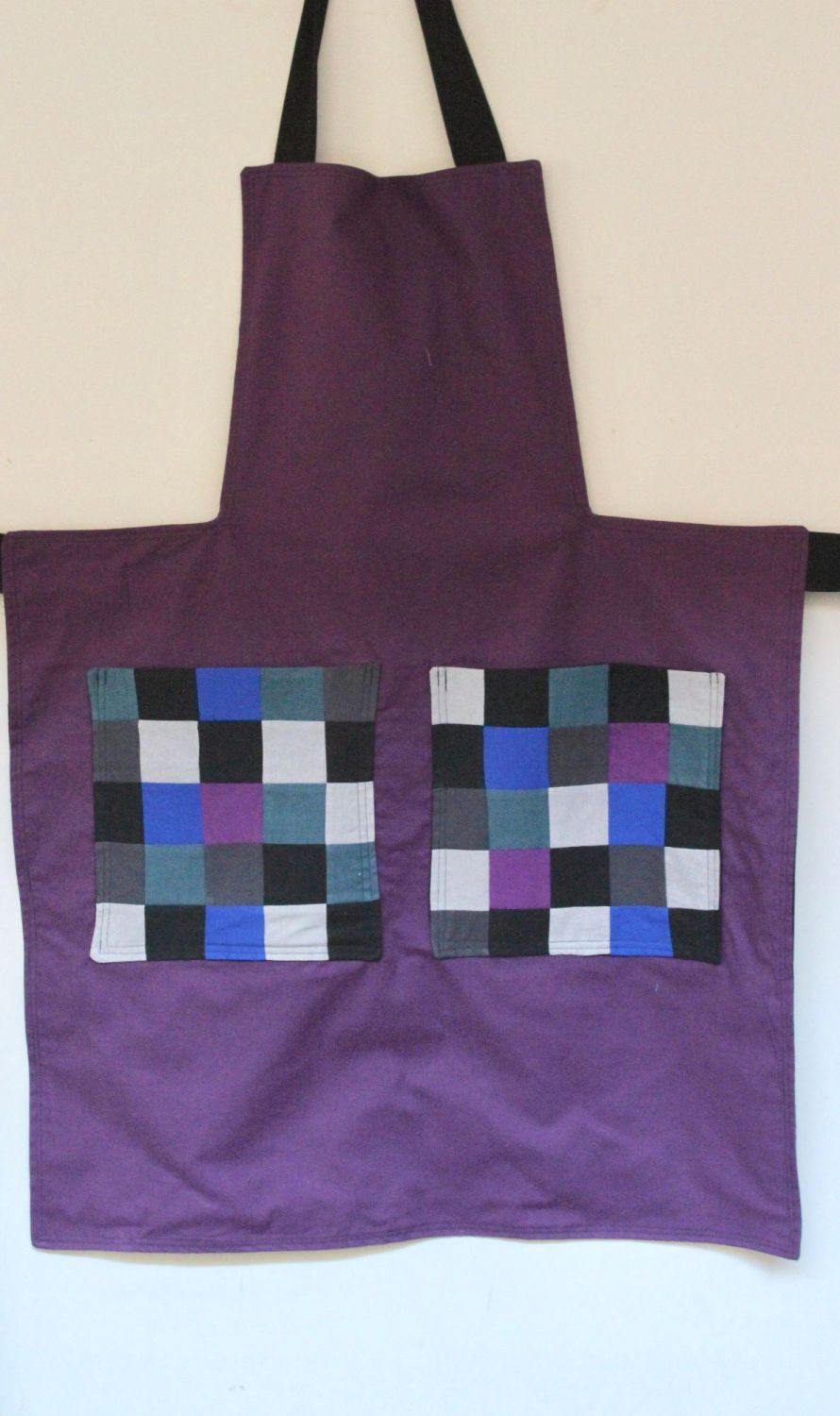 Reversible Apron In Red/Chestnut with Patchwork Pockets