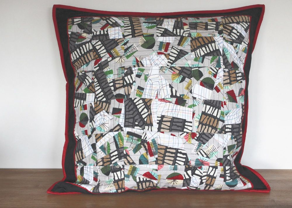 Mid Mod Abstract Quilted Cushion