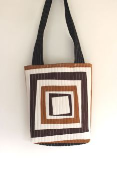 Modern Log Cabin Patchwork Quilted Tote Bag