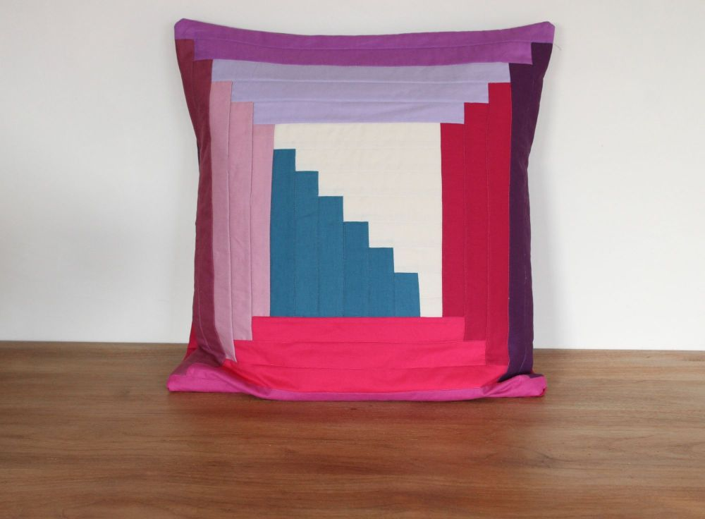 Log Cabin Quilted Cushion( In Pinks(2)