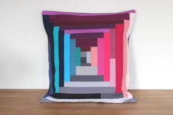 Court House Steps Quilted Cushion (In Pinks)(3)