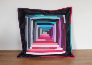 Court House Steps Quilted Cushion (In Pinks)(4)