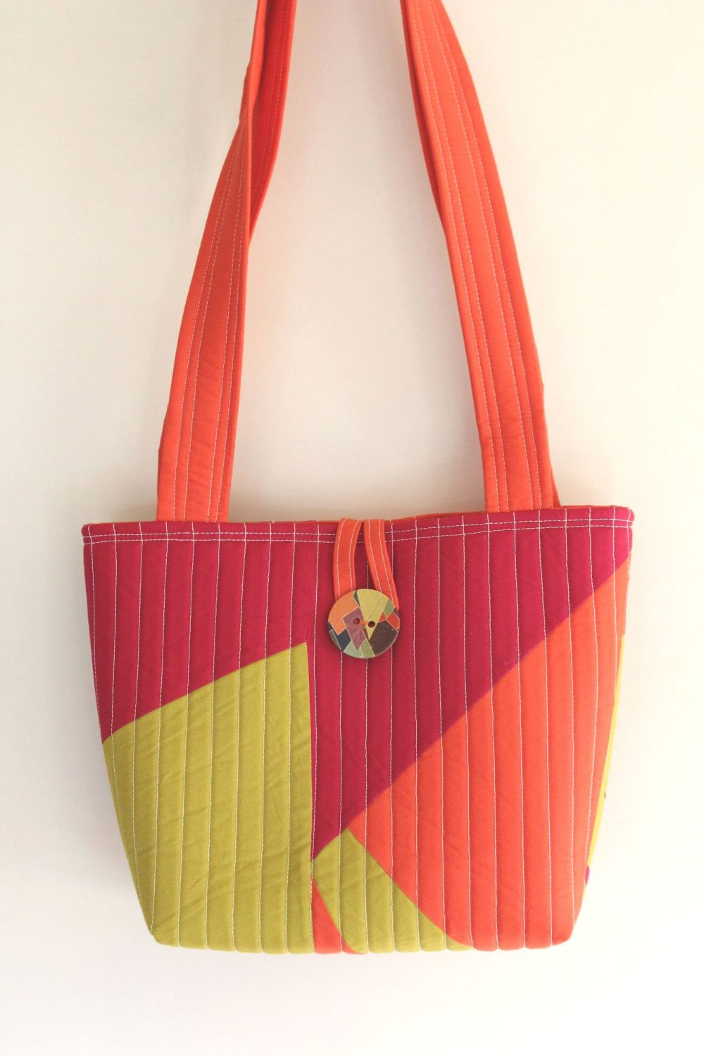 Small Tote Bag in Orange Pink and Pickle(1)