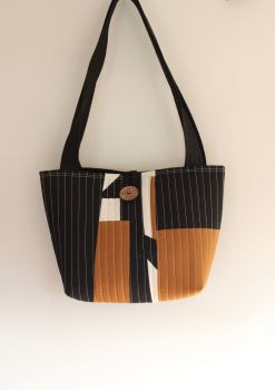 Pecan and Black Quilted Tote Bag